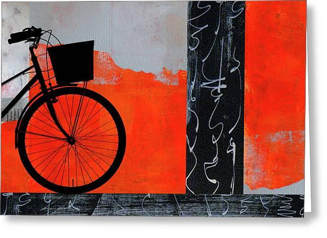 Red Bicycle Art Greeting Card by Nancy Merkle