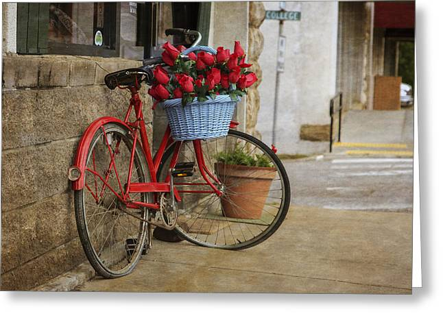 Arkansas Greeting Cards - Red Bike and Flowers Greeting Card by Tony  Colvin