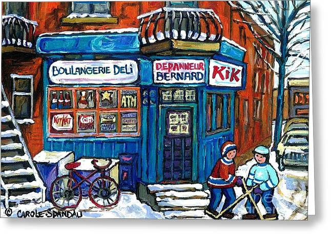 Hockey Paintings Greeting Cards - Red Bike At Boulangerie Bernard Street Hockey Paintings Best Canadian Winter Scene Art Greeting Card by Carole Spandau