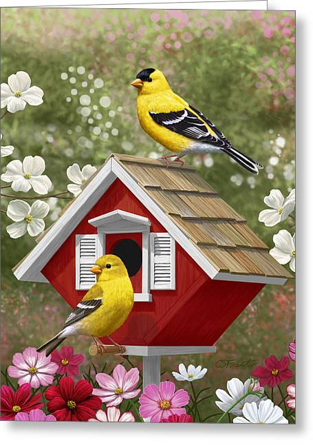 American Goldfinch Greeting Cards - Red Birdhouse and Goldfinches Greeting Card by Crista Forest