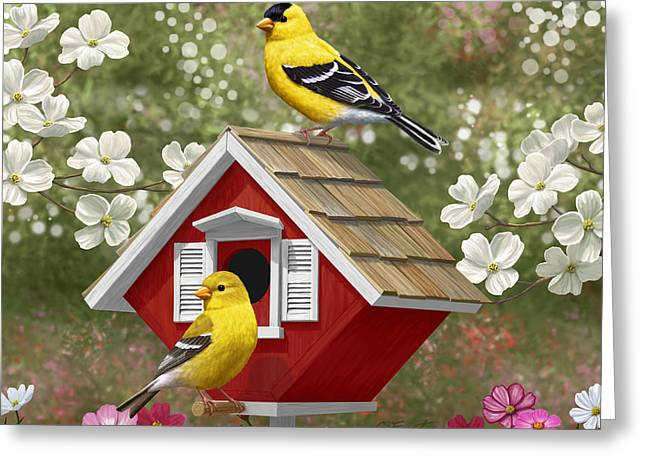 Birds And Flowers Greeting Cards - Red Birdhouse and Goldfinches Greeting Card by Crista Forest