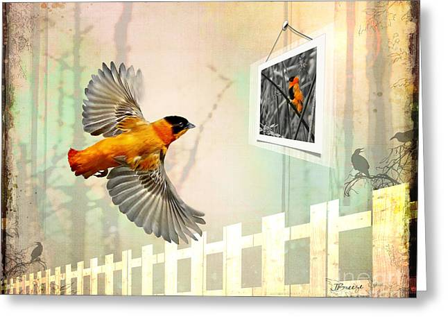 Red Bishop Memory Lane Greeting Card by Jennie Breeze
