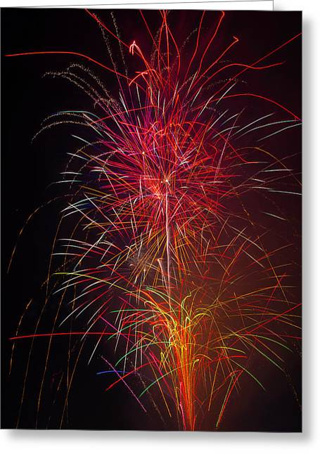 Red Blazing Fireworks Greeting Card by Garry Gay