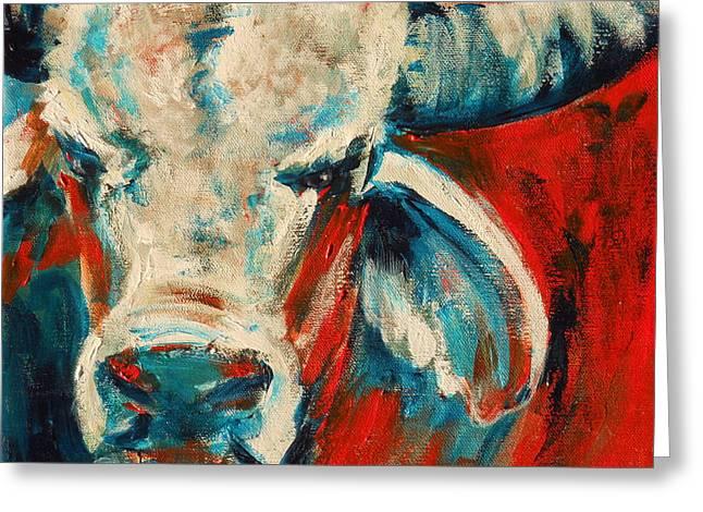 Summer Celeste Greeting Cards - Red-Blue Brahma Bull Greeting Card by Summer Celeste