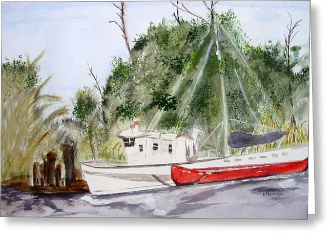 Red Boat Greeting Card by Barbara Pearston