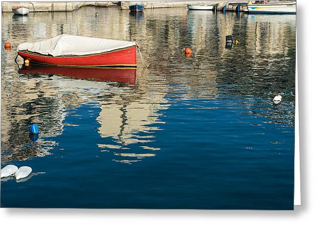 The Red Maltese Boat - A Little Fishing Boat At Anchor Greeting Card by Georgia Mizuleva