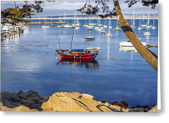 Monterey California Greeting Cards - Red Boat Greeting Card by Joseph S Giacalone