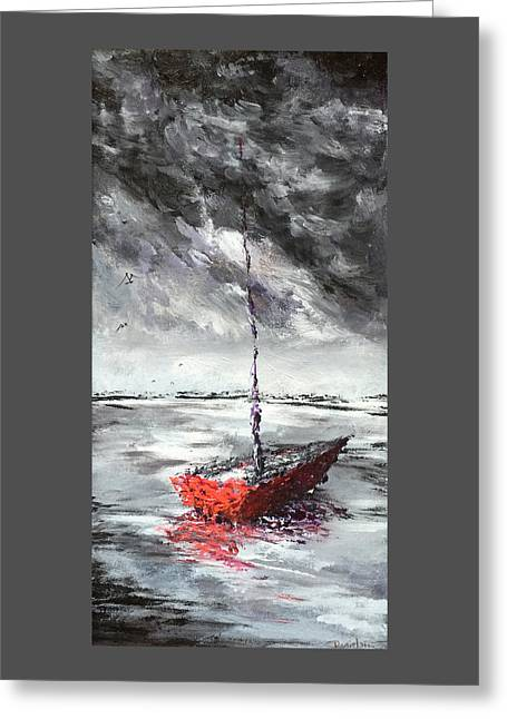 Overcast Day Greeting Cards - A Red Boat on an Overcast Day Greeting Card by Daniel Xiao