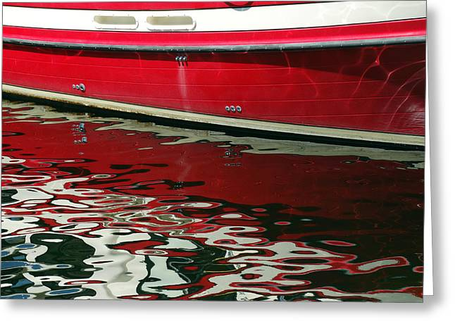 Red Abstracts Greeting Cards - Red Boat Reflection Abstract Greeting Card by David T Wilkinson