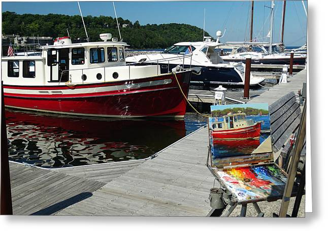 Docked Boat Greeting Cards - Red Boat Times Two Greeting Card by David T Wilkinson