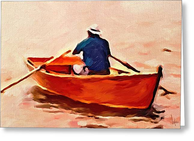 Little Red River Paintings Greeting Cards - Red boat painting Little red boat Small boat painting Old boat painting Abstract boat art Countrysid Greeting Card by Vya Artist