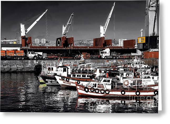 Boats In Harbor Greeting Cards - Red Boats in Valparaiso Fusion Greeting Card by John Rizzuto