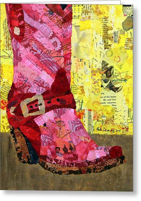 Cowboy Hands Greeting Cards - Red Boot Greeting Card by Paula Dickerhoff