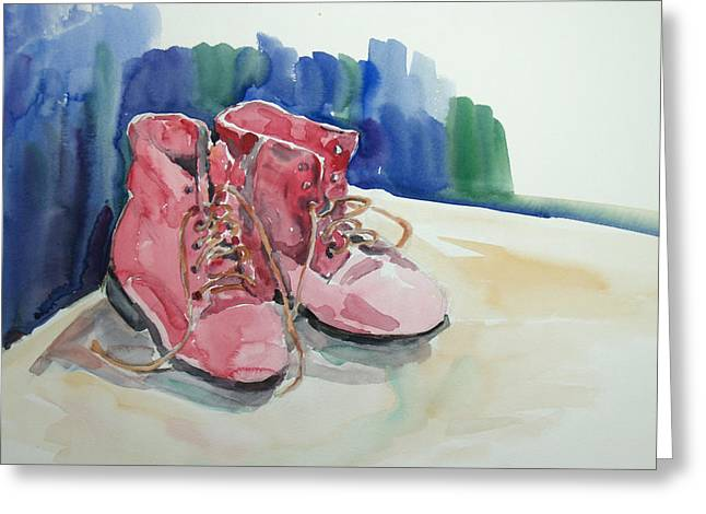 Becky Kim Greeting Cards - Red Boots Greeting Card by Becky Kim