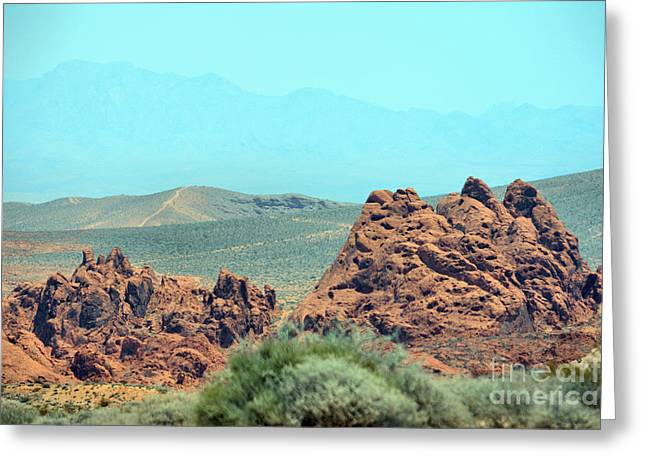 Boulders Tapestries - Textiles Greeting Cards - Red Boulders Greeting Card by Edna Weber