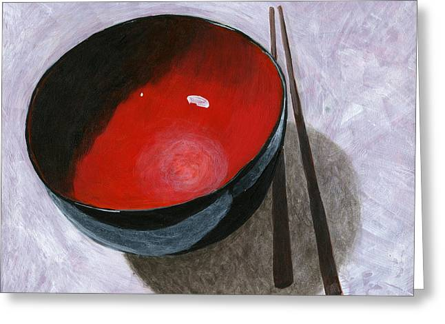 Lacquer Greeting Cards - Red Bowl and Chop Sticks Greeting Card by Karyn Robinson
