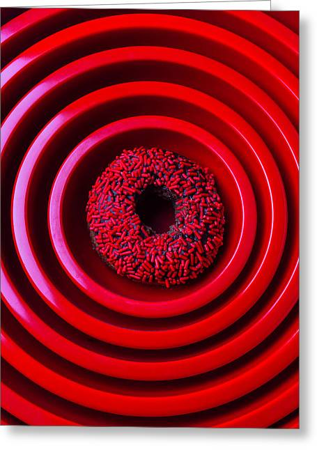 Red Bowls And Donut Greeting Card by Garry Gay