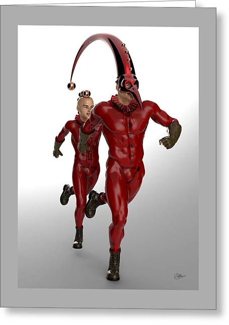 Red Boys Circus Greeting Card by Quim Abella