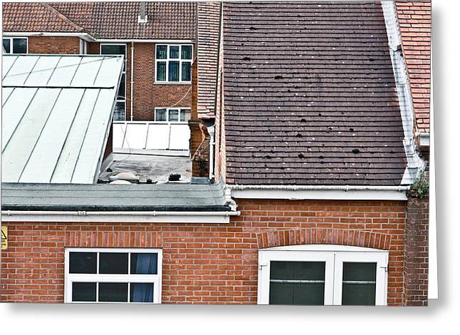 Red Roof Photographs Greeting Cards - Red brick buildings Greeting Card by Tom Gowanlock