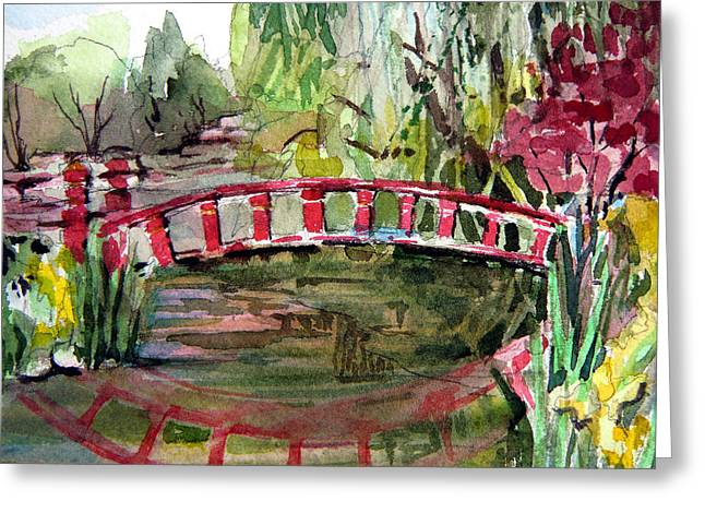 Willow Lake Drawings Greeting Cards - Red Bridge Greeting Card by Mindy Newman