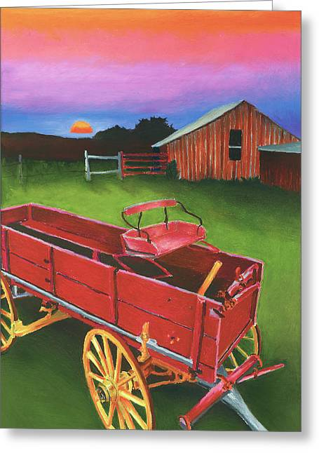 Red Buckboard Wagon Greeting Card by Stephen Anderson