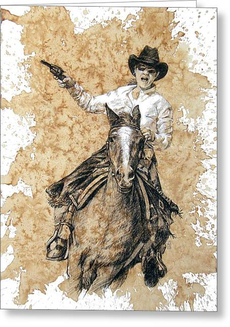Arizona Cowgirl Greeting Cards - Red Buffalo Gal Greeting Card by Debra Jones