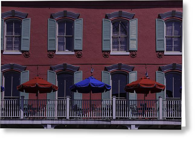 Nola Photographs Greeting Cards - Red Building Greeting Card by Garry Gay