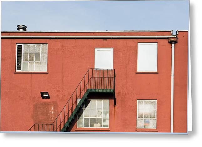 Red Building Greeting Card by Tom Gowanlock