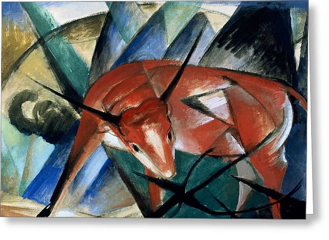 Gouache Abstract Greeting Cards - Red Bull Greeting Card by Franz Marc