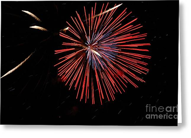Red Burst Greeting Card by Norman  Andrus