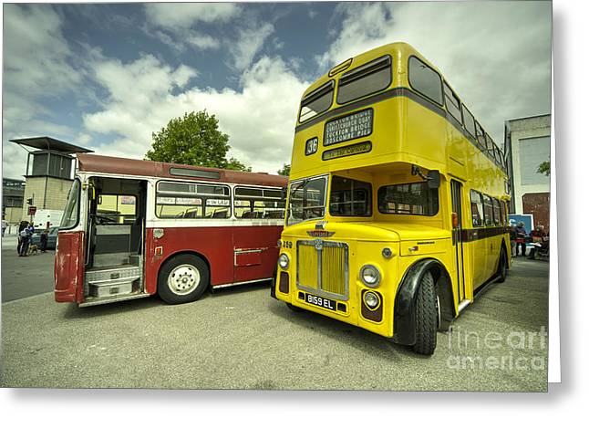 Double Decker Greeting Cards - Red Bus Yellow Bus  Greeting Card by Rob Hawkins