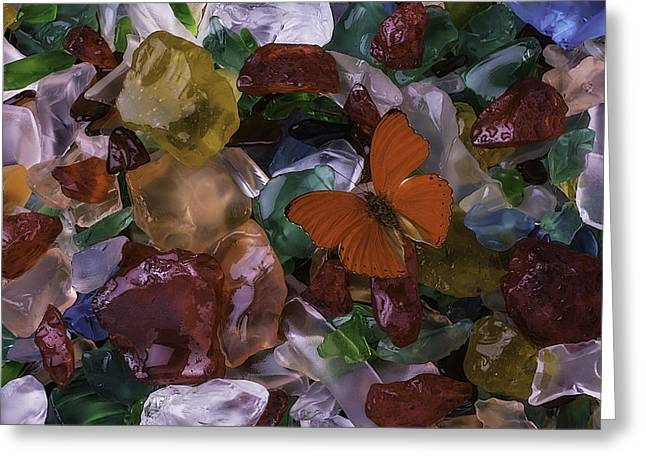 Red Butterfly On Sea Glass Greeting Card by Garry Gay