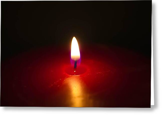 Candle Lit Greeting Cards - Red Candlelight Greeting Card by Michelle Saraswati