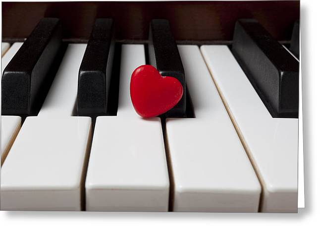Keyboard Photographs Greeting Cards - Red candy heart  Greeting Card by Garry Gay