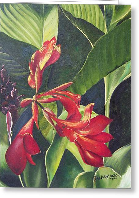 Red Cannas Greeting Card by Deleas Kilgore