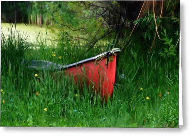Old Digital Art Greeting Cards - Red canoe Greeting Card by Debra Baldwin