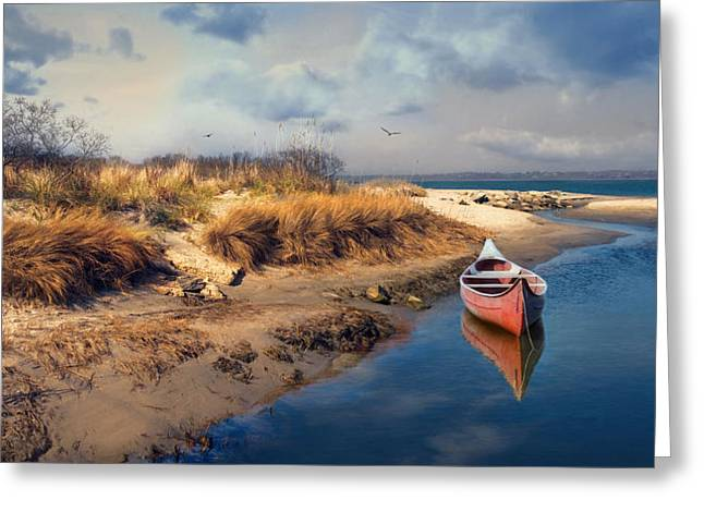 Canoe Greeting Cards - Red Canoe Greeting Card by Robin-lee Vieira