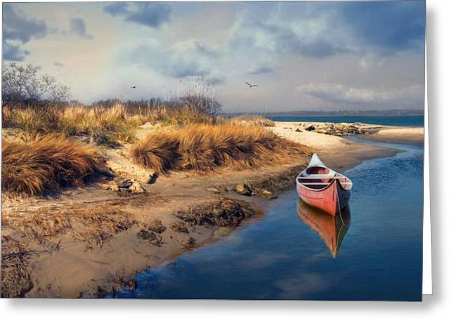 Canoe Photographs Greeting Cards - Red Canoe Greeting Card by Robin-lee Vieira