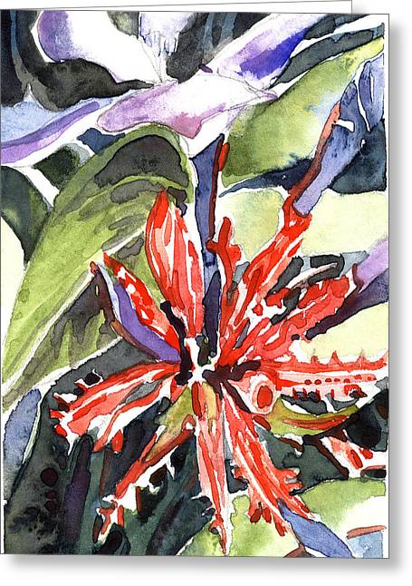 Computer Drawings Greeting Cards - Red Cape Plumbago  Greeting Card by Mindy Newman