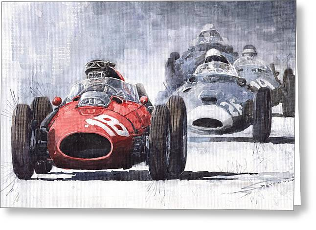 Phils Greeting Cards - Red Car Ferrari D426 1958 Monza Phill Hill Greeting Card by Yuriy  Shevchuk