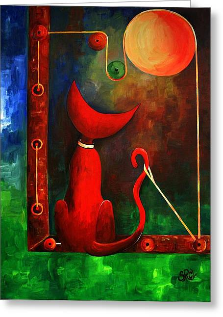 Observer Greeting Cards - Red Cat Looking At The Moon Greeting Card by Silvia Regueira
