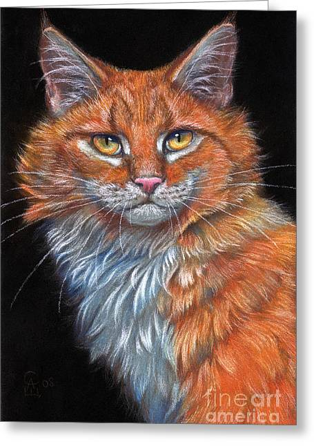 Feline Pastels Greeting Cards - Red Cat Greeting Card by Svetlana Ledneva-Schukina