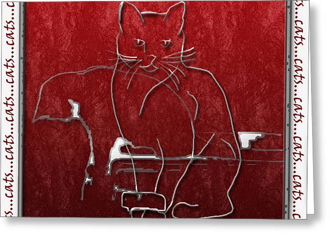 Abstract Cat Greeting Cards - Red Cats Greeting Card by Arline Wagner