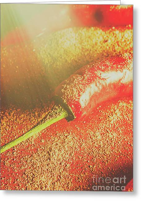 Red Cayenne Pepper In Spicy Seasoning Greeting Card by Jorgo Photography - Wall Art Gallery