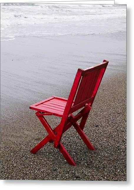 Sat Photographs Greeting Cards - Red chair on the beach Greeting Card by Garry Gay