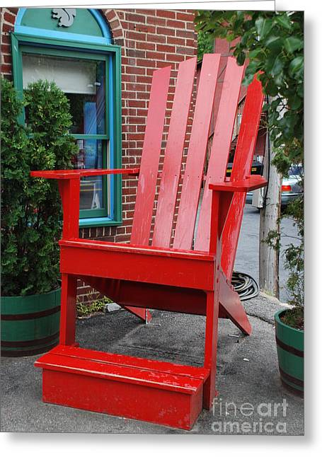 Adirondak Chair Greeting Cards - Red Chair Greeting Card by William Thomas
