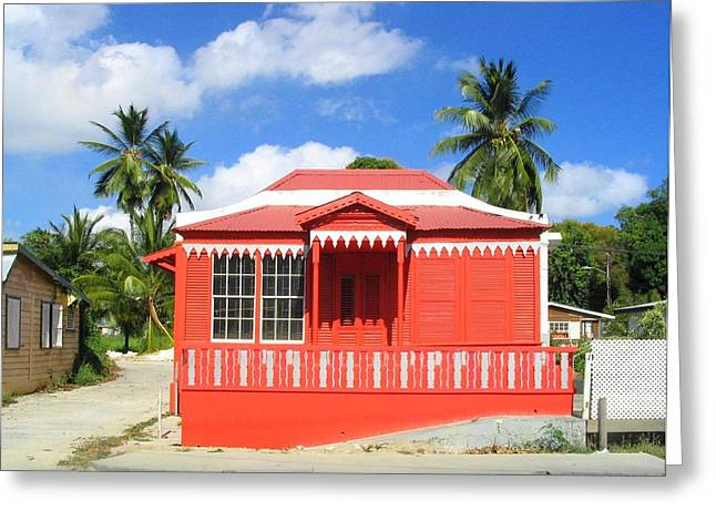 Red Chattel House Greeting Card by Barbara Marcus