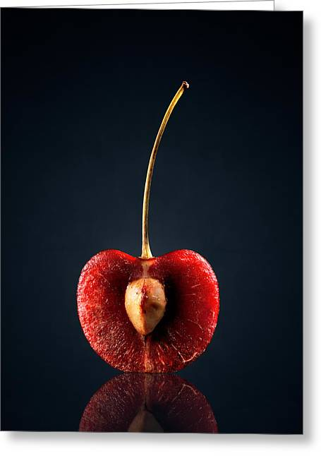 Raw Greeting Cards - Red Cherry Still Life Greeting Card by Johan Swanepoel