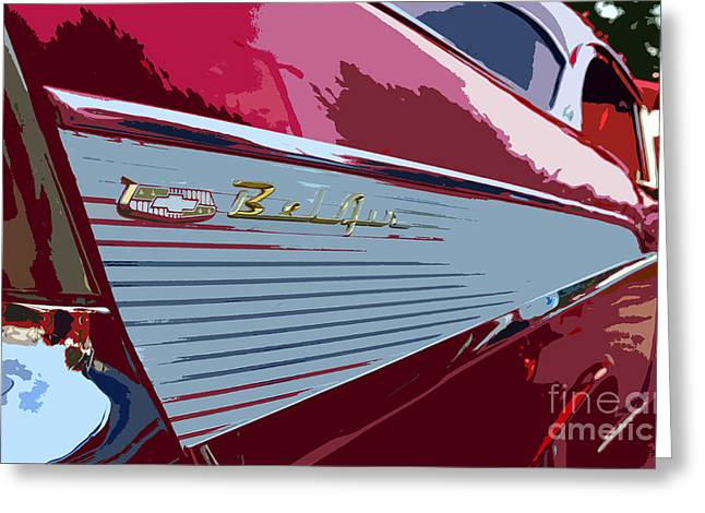 Antic Car Greeting Cards - Red Chevy Greeting Card by David Lee Thompson