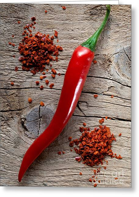 Ingredients Greeting Cards - Red Chili Pepper Greeting Card by Nailia Schwarz
